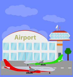 Planes with international airport vector