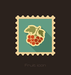 Rowan branch flat stamp berry fruit vector