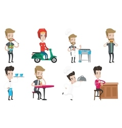 Set of people eating and drinking vector
