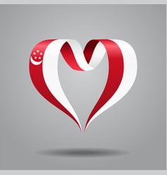 singapore flag heart-shaped ribbon vector image vector image
