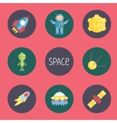 Space Cartoon Icons Collection vector image vector image