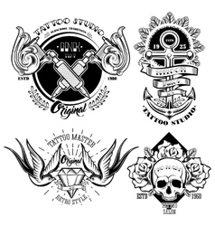 Tattoo Studio Monochrome Emblems Set vector image