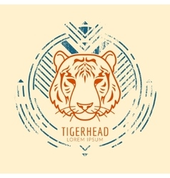 Tiger head logo in frame vector