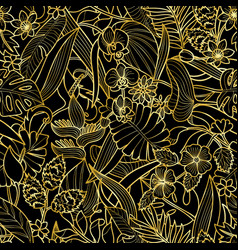 tropical gold seamless pattern vector image vector image