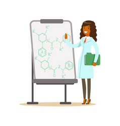 Woman scientist stands next to whiteboard with vector