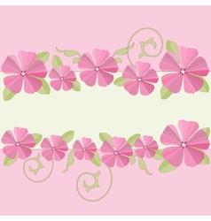 Pink flowers ornate frame background vector image