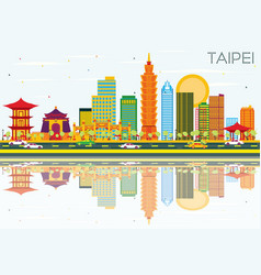 Taipei skyline with color buildings blue sky vector