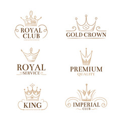 Vintage princess labels and logos with vector