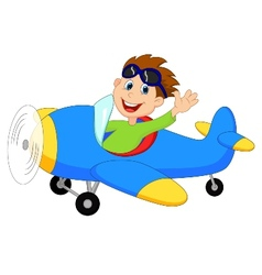 Cartoon Little Boy Operating a Plane vector image