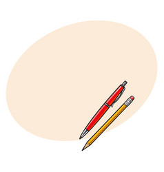 Simple hand drawn ball point pen and pencil vector