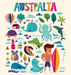 australian symbols vector image