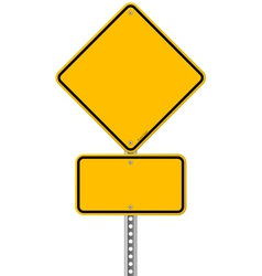 Yellow sign and pole vector