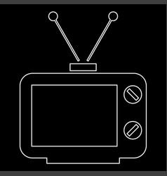 Old tv white color path icon vector