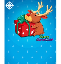 A christmas card with a gift and a deer vector