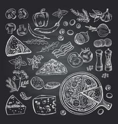 pizza ingredients on black vector image