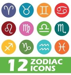 Colored round zodiac icon set vector image