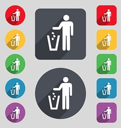 Throw away the trash icon sign a set of 12 colored vector