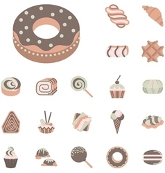 Flat icons collection for confectionery vector