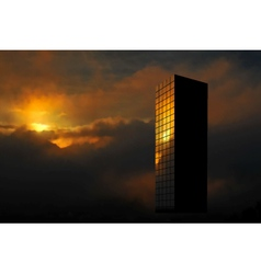 Sunrise skyscraper vector