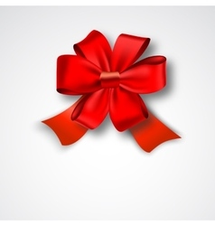 Red ribbon satin bow vector