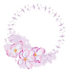 flowers and swallows vector image