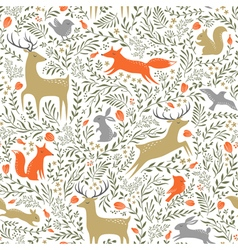 Summer woodland pattern vector
