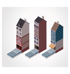 Isometric old buildings vector