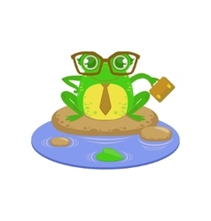Teacher cartoon frog character vector