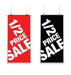 Half price sale signs vector