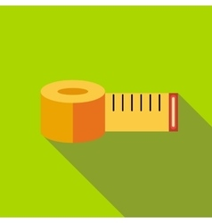 Yellow measuring tape icon flat style vector