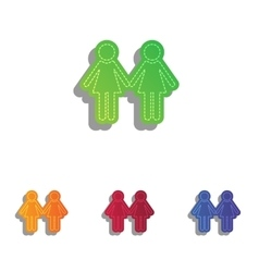 Lesbian family sign colorfull applique icons set vector