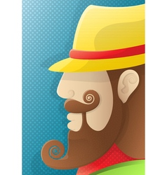 A man with a curly beard and a yellow hat vector