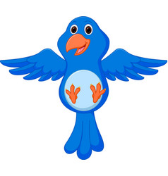 Blue bird cartoon flying vector