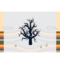 Burning tree in a desert Abstract background vector image
