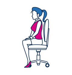 Business woman person sitting office chair in blue vector