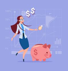 business woman put coin piggy bank money vector image vector image