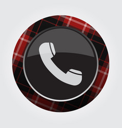 Button with red black tartan - old telephone icon vector
