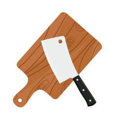 Cleaver butchers sharp knife for meat with board vector