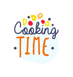 colorful handmade text logo for cooking food club vector image