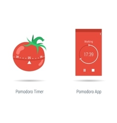 Concept of pomodoro timer and app vector