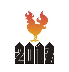 Fire rooster logo cock silhouette on a white vector
