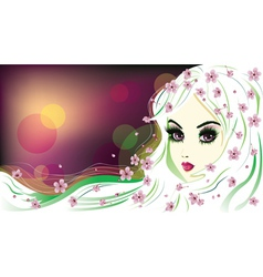 Floral girl with white hair5 vector