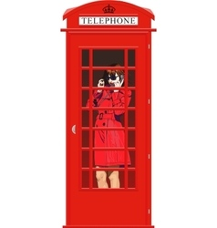 girl in an English phone booth vector image vector image