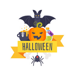 halloween greeting card template vector image