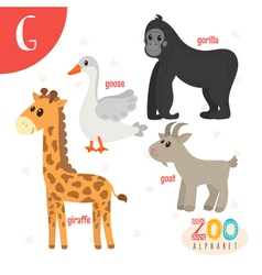 Letter G Cute animals Funny cartoon animals in vector image vector image