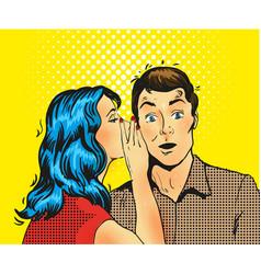 Man and woman whisper pop art vector