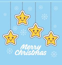 merry christmas cartoon stars hanging decoration vector image vector image