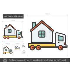 Motorhome vehicle line icon vector