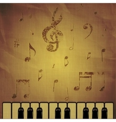 piano on paper background with music notes vector image vector image