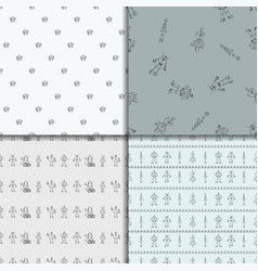Robot doodles pattern set vector